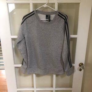 Adidas Gray Crewneck Three Stripe Sweatshirt S NWT